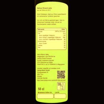 Olivenöl 50cl fruchtig Deklaration